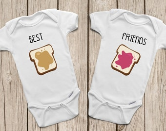 Best Friend ONESIES ® or Baby T-Shirt Twin Onesies Peanut Butter and Jelly Shirts Best Friends Forever Twins Baby Gifts Hipster Baby Clothes