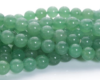 green aventurine beads - natural green aventurine - green aventurine stone - beads for jewelry making - smooth round beads - 4-14mm -15inch