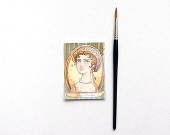 Jane Austen portrait - Watercolors and coffe - OOAK original artwork