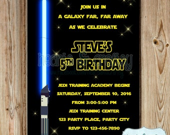 Light Saber Invite Etsy - Star wars birthday invitation diy