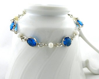 Turquoise Glass & Mother of Pearl Bracelet - MOP- Handmade