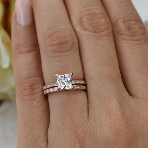 Eternity Ring Wedding Set: 1.5 Ctw Princess Cut Eternity Wedding Set Bridal Rings Man
