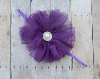 Eggplant flower girl headband, plum baby headband, purple flower headband