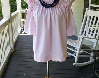 Women's top the Derby top in pink oxford off the shoulder top custom made by Collyn Raye xsmall only