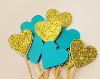 Turquoise & Gold Food Picks/ Tooth Picks / Party Picks