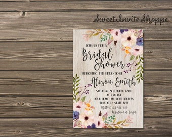 Bridal Shower Invitation, Watercolor Floral Bridal Shower Invitation, Boho Floral Bridal Invitation, Rustic Wood Shower Invitation, , DIY