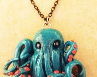 Teal Polymer Clay Octopus Necklace