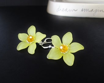 Yellow Lucite Flower Earrings - Silver Statement Dangle Earrings - Beaded Crystal Jewelry - Handmade Christmas Gifts for Her - CrystalGirlz