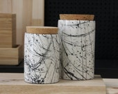 2 ceramic jars with a cork lid in white and black lines pattern. Ceramic Utensil Holder, Ceramic Utensil Jar.