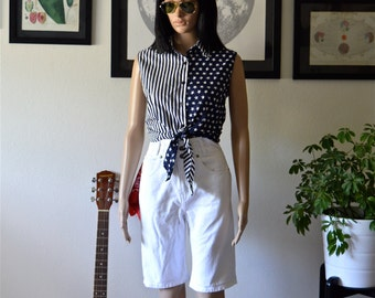 Vintage Stars and Stripes Button Up Crop Top -- Bill Blass Jeans -- Perfect for 4th of July!