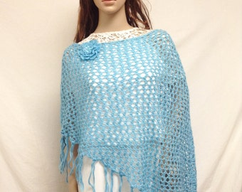 Poncho top,Blue, Knit Poncho, Flower, Sequin, Fringed poncho
