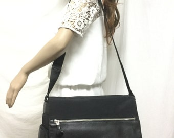 Espirit,Messenger Bag, Nylon, Faux Leather ,Shoulder Bag,black