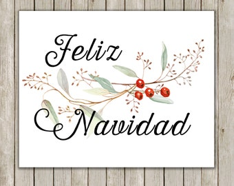 8x10 Christmas Printable, Feliz Navidad, Typography Print, Typography Art, Spanish Art Poster, Holiday Decor, Wall Art, Instant Download