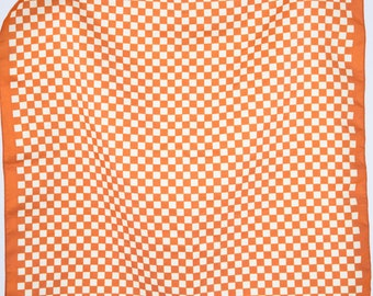 Vintage 70s Kerchief | Orange and White Checker Print Scarf | Unique Handkerchief