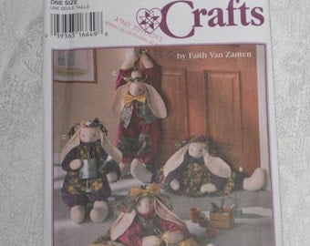 Simplicity 9430 Crafts Pattern Bunny Rabbit Doll, Clothes & Draftstopper Uncut