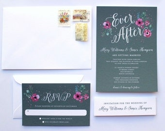 Fairytale Wedding Invitations, Happily Ever After, Grey Wedding Invitation, Gray Wedding Invitations, Happily Ever After Wedding. SKU: WFO