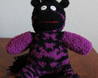 Handcrafted Purple Fuzzy Sock Zebra