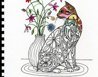 ADULT COLORING BOOK: 12 pages, 110 lb card stock, for markers and inks, cats, fish, Zentangle, owl, flowers, butterflies, rooster
