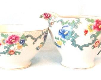 Vintage Collectible Strawberry Set, Royal Cauldon, Victoria Pattern, Sugar Bowl and Creamer, Floral Design, Afternoon Tea, Tea Service