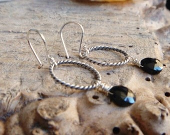 Black Spinel sterling silver earrings // Sterling Silver jewelry // Spinel jewelry // Handmade // metaphysical