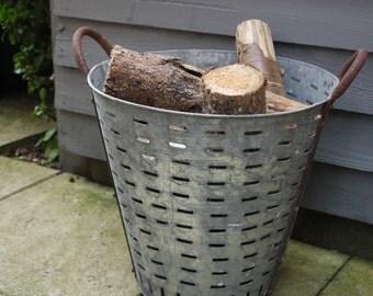 Vintage Log Basket - Galvanised Oyster Basket - Rustic Basket - Metal Basket - Storage Basket  - Vintage Planter - Metal Planter - Planter