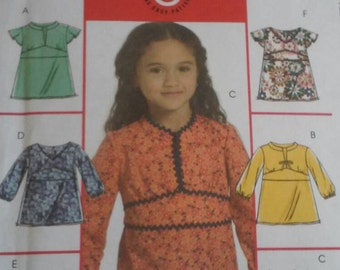 McCalls 5456 Sewing Pattern for Girls' Tops Blouses Shirts Size 6 7 8 Various Sleeve Lengths Variations