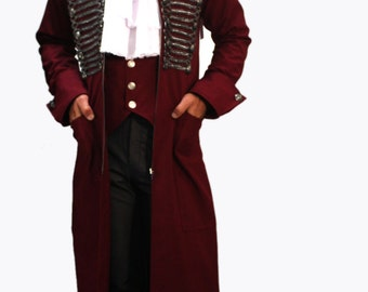 Steampunk Mens frogged trench coat in Maroon