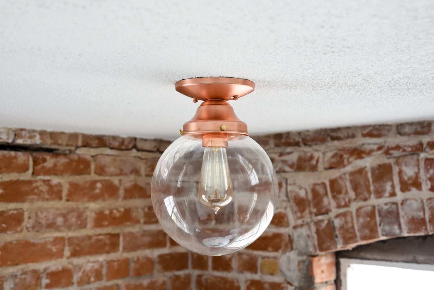 Free shipping semi flush solid copper 8 clear glass globe flush semi flush solid copper 8 clear glass globe flush mount industrial modern ceiling lighting edison aloadofball