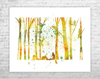 Nursery Birch Tree Wall Decor, Forest Art Print, Nursery Wall Art, Kids Wall Decor, Nursery Digital Art, Kids Wall Art, Baby Room Decor