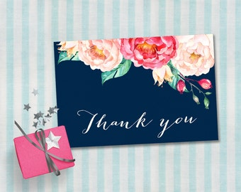 Thank You Card Printable, Baby Shower Thank you Card, Birthday Thank you card, Floral Boho Thank you Card, Printable Thank you card