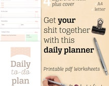 Daily planner PRINTABLE - undated - A4/ A5/ Letter - 5 different sheets: today's plan - to-do list - schedule - timetable - cover + freebie
