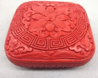 "carved cinnabar  square box  3x3""x 1"" thickness"