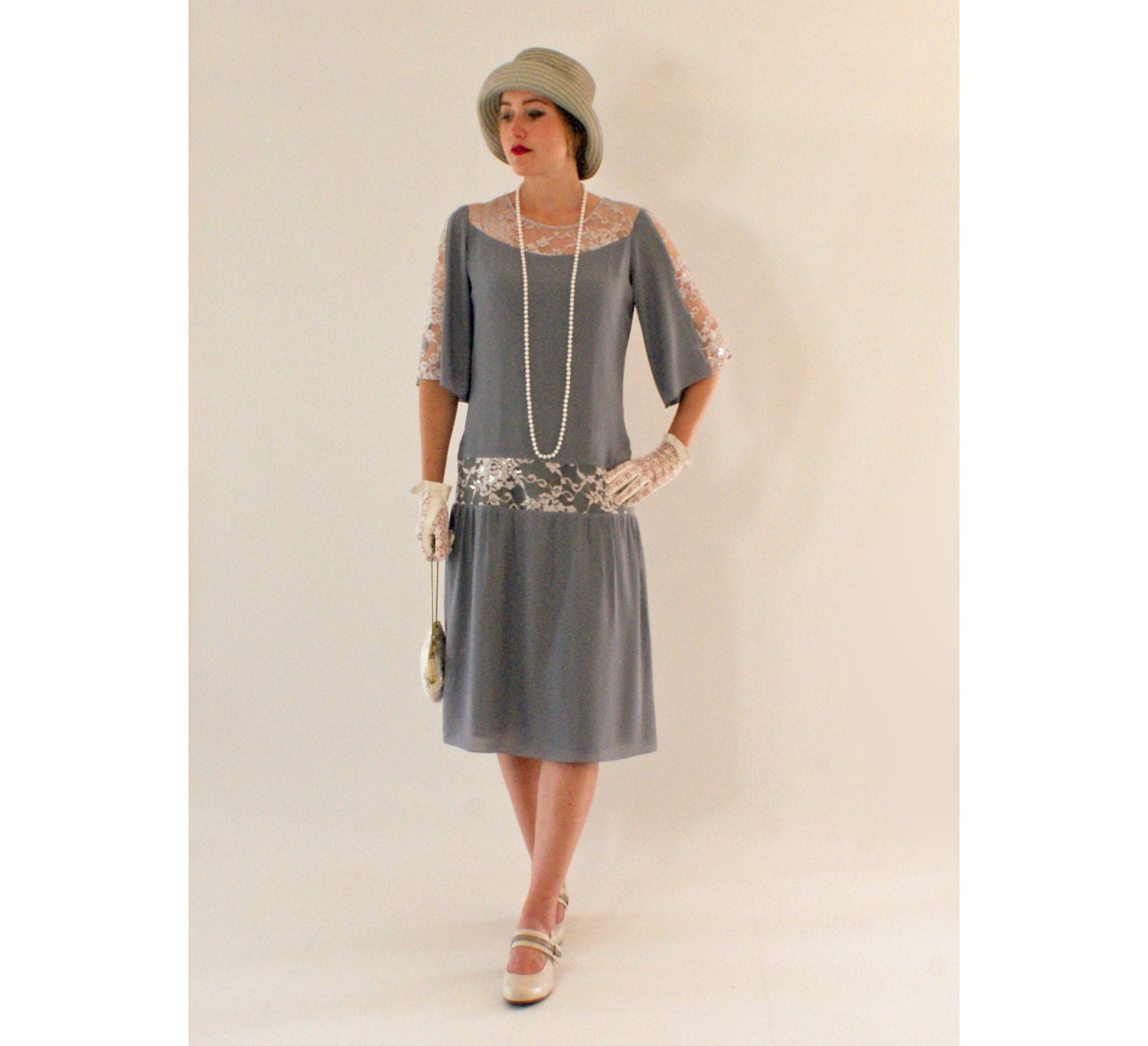Gatsby Dresses: Grey Great Gatsby Dress With Elbow-length Sleeves 1920s