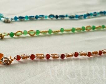 Charm Bracelet OOAK-Unique Gift -Minimalist Customizable -Gemstone Red Carnelian, Green Aventurine & Blue Agate Little Auguries