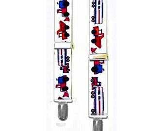 "INFANT SUSPENDERS - TRUCKS - 2 Sizes to fit Ages 4 to 12 Months - 1"" Width Elastic"