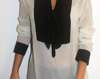 Two colour shirt with frill