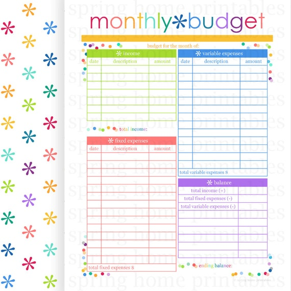 MONTHLY BUDGET, Budget Planner, Printable Budget, Bill Organizer ...