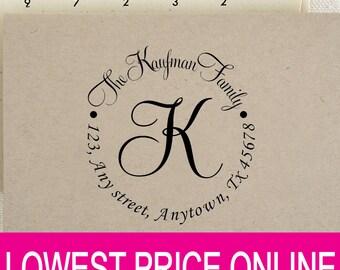 Return Address Stamp, Personalized Self Inking Round Address Monogram Stamp, Custom Calligraphy Wedding Stamp, Personalized Stamp R486A