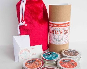 BBQ Christmas Gift Kit | Dry Rubs & Seasoning Set | Boyfriend Husband Gift - Santa's Six