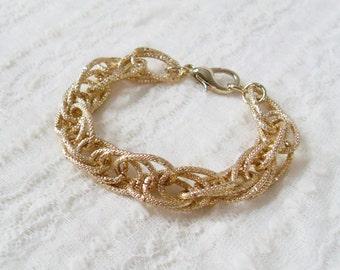 Light Gold Statement Bracelet. A Chunky Light Gold Chain Curb Bracelet. Retro and Stunning.