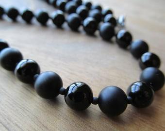 Mens Black Onyx Necklace,  Matte Black Onyx, Men's Beaded Necklace,Mens Necklace, Gifts for Men, Long Necklace, Mens Jewelry, Men's Necklace