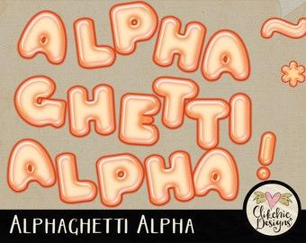 Digital Alpha - Digital Scrapbook Alpha Clipart - Alphaghetti Spaghetti Digital Alphabet - Spaghetti Alphabet, Spaghetti Digital Letters