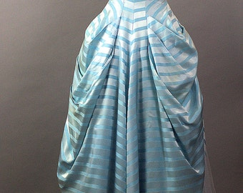 Vintage 1960's Shelf Bust CupCake Prom Dress. 1960's Strapless Long Blue Prom Gown