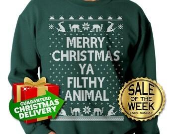 HOME ALONE SWEATER- Merry Christmas Ya Filthy Animal - Ugly Christmas Sweater - Crewneck Sweatshirt - Christmas Sweatshirt - s - xxxl