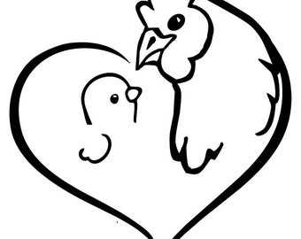 Hen and Chick Decal