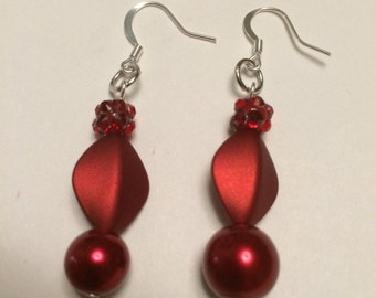 Red Satin and Pearl Earrings in Silver