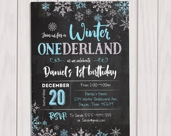 WINTER ONEDERLAND Invitation Chalkboard,  Boy Winter Onderland Party, Snowflake Birthday Party First Birthday, Printable