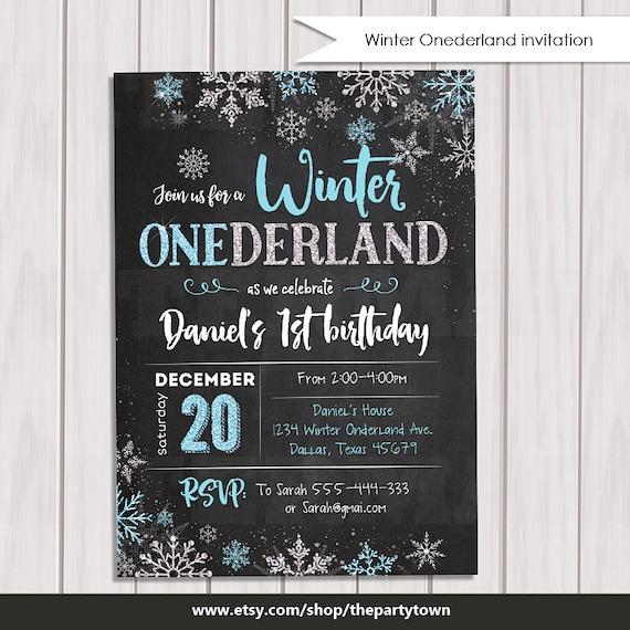 First Birthday Party Invitation Boy Chalkboard: WINTER ONEDERLAND Invitation Chalkboard, Boy Winter