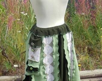 Fairy Green an Upcycled Kicky Little Skirt size Medium Large