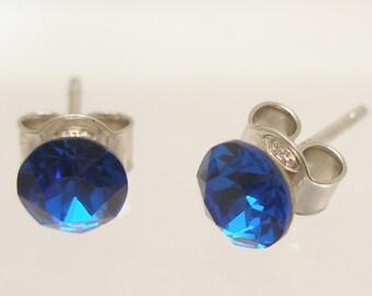 Swarovski Crystals Stud Earrings, Sterling Silver 925
